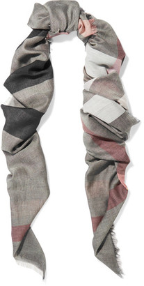 Burberry - Fringed Checked Modal And Wool-blend Scarf - Light gray $250 thestylecure.com