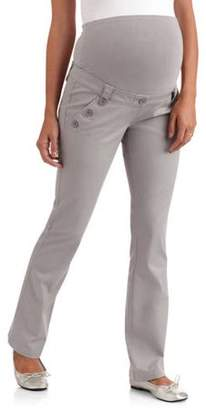 Planet Motherhood Full Panel Woven Plus-Size Maternity Pant With Button-Front Curved Pockets