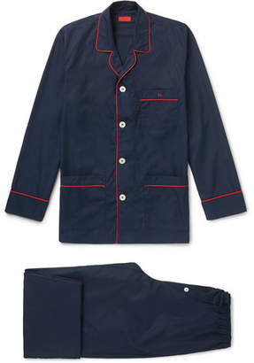 Isaia Piped Cotton-Poplin Pyjama Set