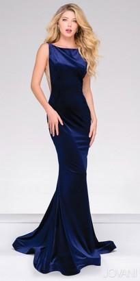 Jovani Plunging V-back Fitted Velvet Evening Dress $480 thestylecure.com