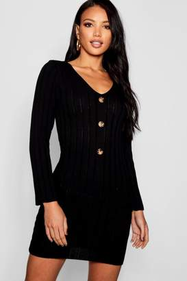 boohoo Long Sleeve Rib Knit Button Front Dress