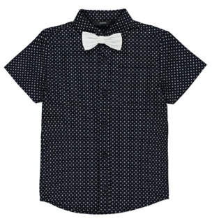 Printed Shirt with Bow Tie