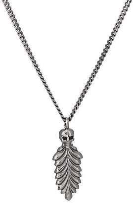 Emanuele Bicocchi Men's Skull & Feather Pendant Necklace - Silver