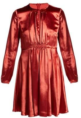 RED Valentino Smocked Velvet Mini Dress - Womens - Red