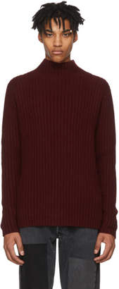 The Elder Statesman SSENSE Exclusive Burgundy Cashmere Mocking Rib Turtleneck