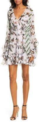 Diane von Furstenberg Harlow Floral Ruffle Detail Silk Chiffon Long Sleeve Minidress