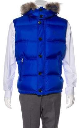 Burberry Fur-Trimmed Hooded Down Vest