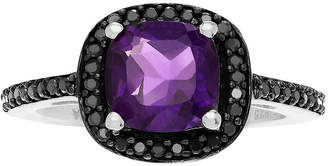Journee Collection FINE JEWELRY Genuine Amethyst and Black Spinel Sterling Silver Ring