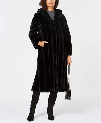Jones New York Hooded Maxi Faux-Fur Coat