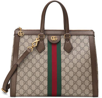 Gucci Ophidia Medium GG Supreme Canvas Web Top-Handle Tote Bag