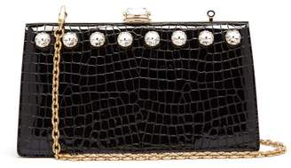 Miu Miu Solitaire Crystal Embellished Leather Clutch - Womens - Black