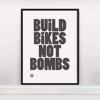 Anthony Logistics For Men Oram 'Build Bikes Not Bombs' Open Edition Screen Print