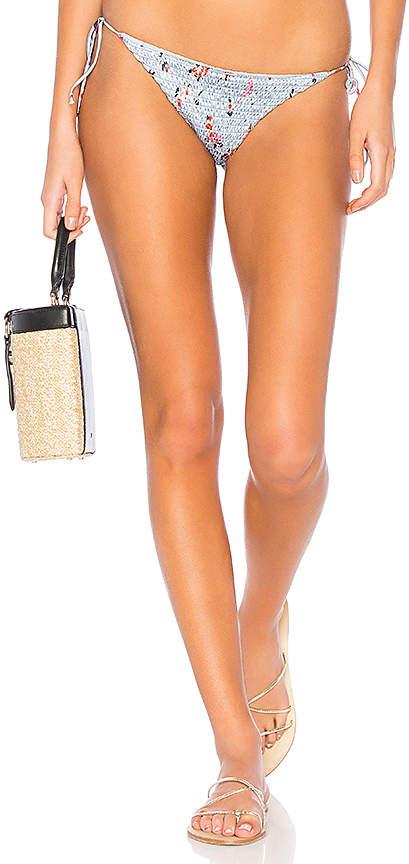 Rose Shirred Satin Tie Side Bikini Bottom