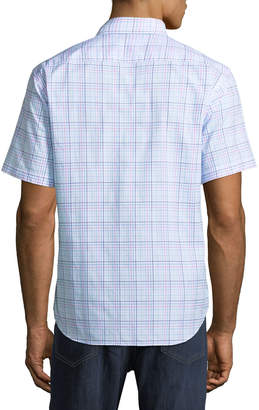 Tailorbyrd Madras-Line Short-Sleeve Sport Shirt