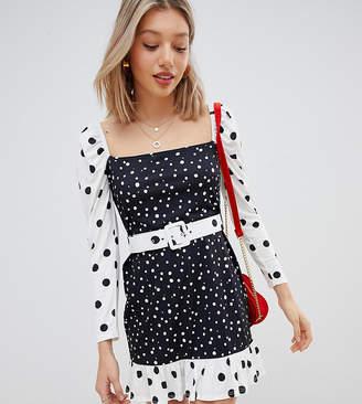 Asos DESIGN Petite mini dress with self belt in contrast spot