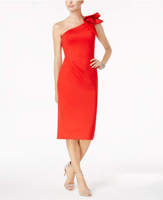 Betsy & Adam Ruffled One-Shoulder Dress $209 thestylecure.com