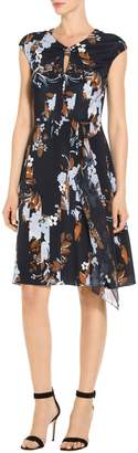 St. John Painted Floral Print Stretc Dress