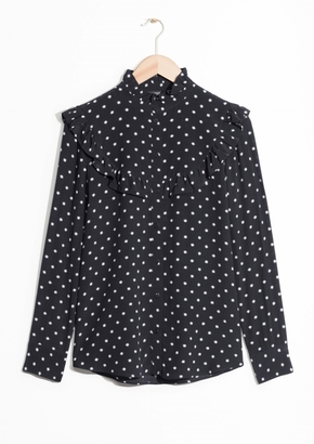 Other Stories Raised Collar Frill Blouse