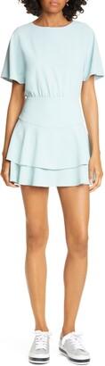 Alice + Olivia Palmira Tie Back Ruffle Tiered Minidress
