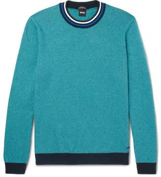 HUGO BOSS Talvino Slim-Fit Stripe-Trimmed Cotton Sweater