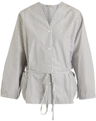 Three Graces London - Fillide Striped Cotton Pyjama Shirt - Womens - Black Stripe