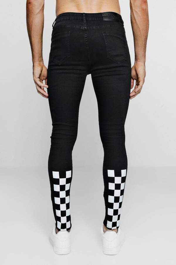 Super Skinny Jeans With Checkerboard Print