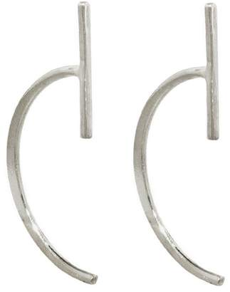 Melissa Joy Manning Vertical Bar Hug Hoop Earrings - Sterling Silver