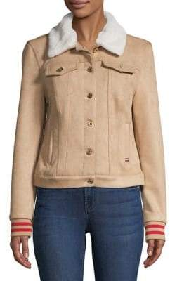 Tommy Hilfiger Long-sleeve Suede Jacket with Faux Fur Collar Lining