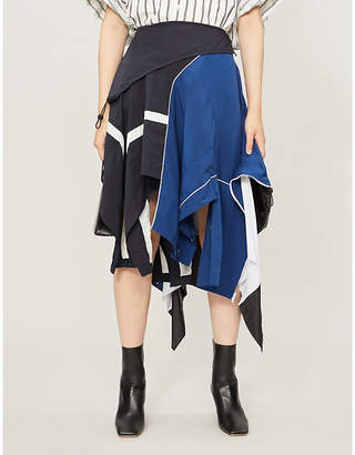 Monse Asymmetric panelled shell midi skirt