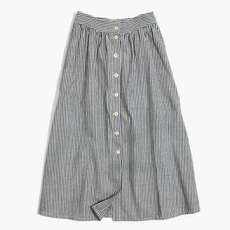 at Madewell Madewell Palisade Button-Front Midi Skirt in Chambray Stripe
