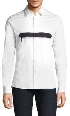 Diesel Black Gold Paint Stripe Button-Down Shirt