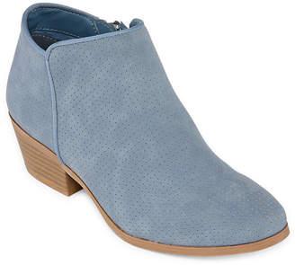 ST. JOHN'S BAY Womens Loyola Bootie Block Heel Zip