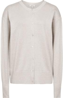 Reiss Natalie - Metallic Button-front Cardigan in Silver