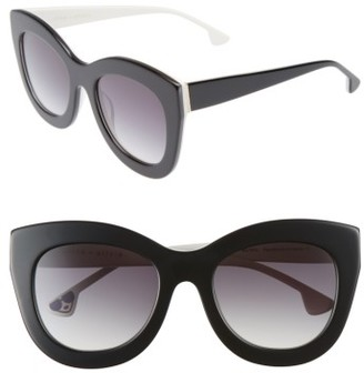 Women's Alice + Olivia Madison 56Mm Cat Eye Sunglasses - Black/ White $250 thestylecure.com