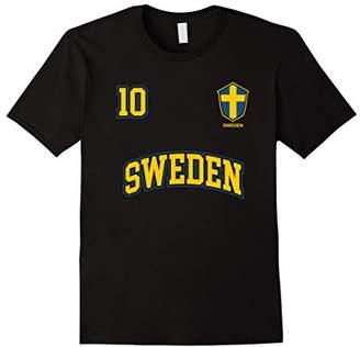 Sweden Soccer Shirt No. 10 Sports Team Swedish Flag T-shirt