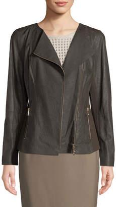 Lafayette 148 New York Aimes Asymmetric Leather Jacket W/ Ponte Combo, Dark Brown