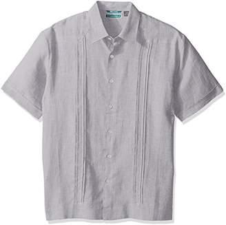 Cubavera Men's Short Sleeve 100% Linen No-Pocket Guayabera Shirt