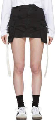 Palm Angels Black Denim Mini Cargo Skirt