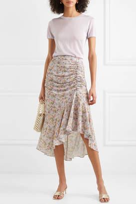 Alice + Olivia Alice Olivia - Freida Asymmetric Ruched Floral-print Crepe Midi Skirt - Beige