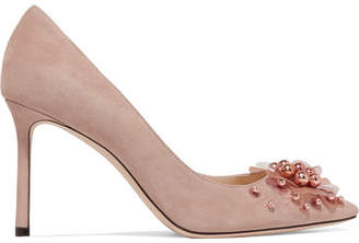 Jimmy Choo Romy 85 Embellished Suede Pumps - Antique rose