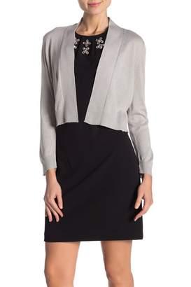 Modern American Designer Lurex 3\u002F4 Sleeve Shrug Cardigan