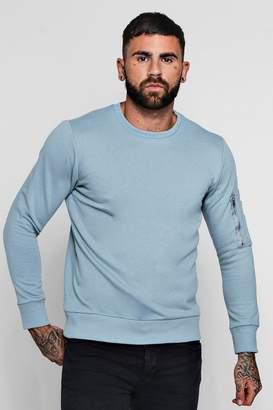 boohoo MA1 Pocket Sleeve Detail Sweater