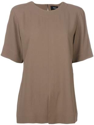 Theory slit hem shortsleeved blouse