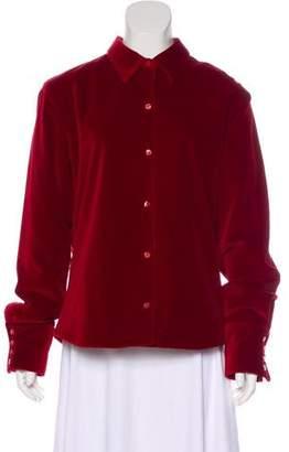 Façonnable Velvet Button-Up Top