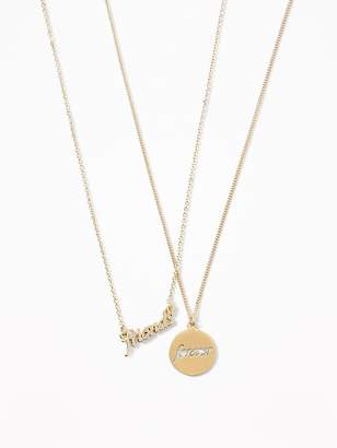 "Old Navy ""Friends""/""Forever"" Pendant Friendship Necklace for Women"