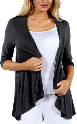 24/7 Comfort Apparel Women's 3/4 Sleeve Open Cardigan