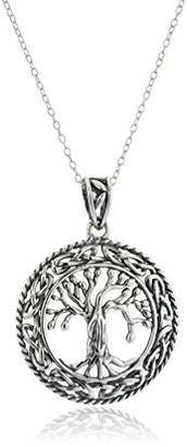 Celtic Sterling Silver Oxidized Tree of Life Pendant Necklace