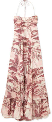 Zimmermann Kali Printed Linen Halterneck Maxi Dress - Brick