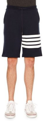 Thom Browne Classic Striped-Leg Sweat Shorts $550 thestylecure.com