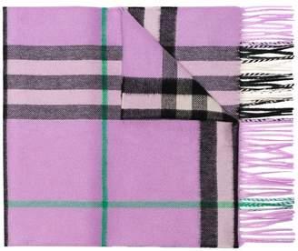 Burberry Purple Classic Check Cashmere Scarf